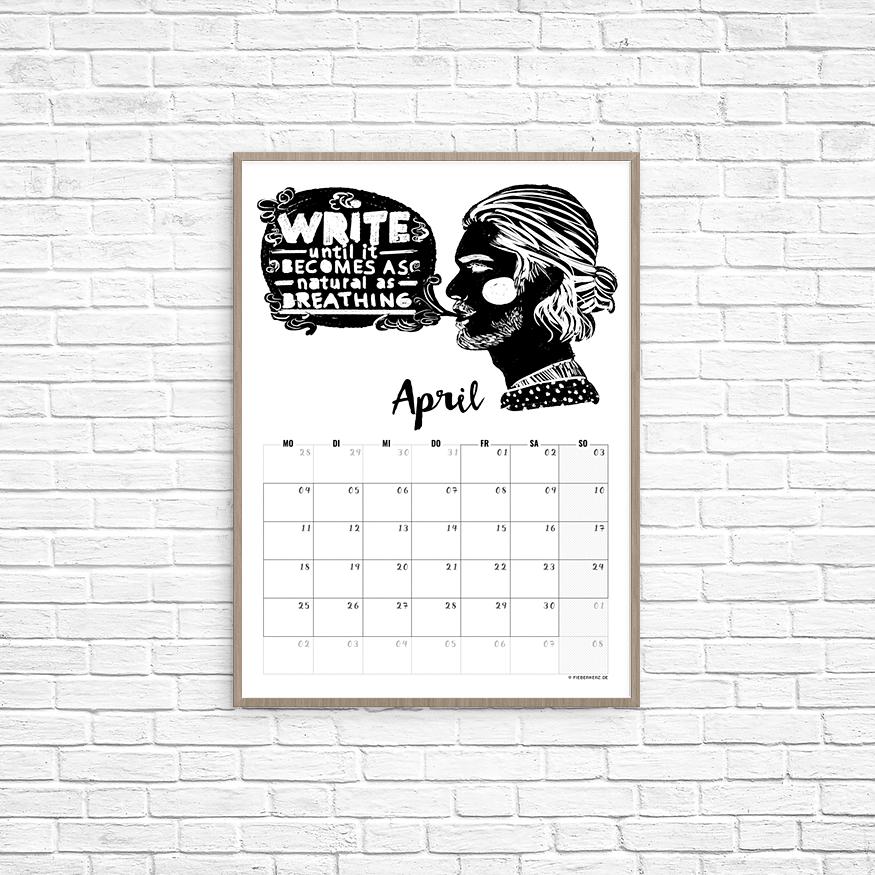 Kalenderblatt April - Schreiben wie Atmen. // Illustration/Kalendarium © fieberherz.de