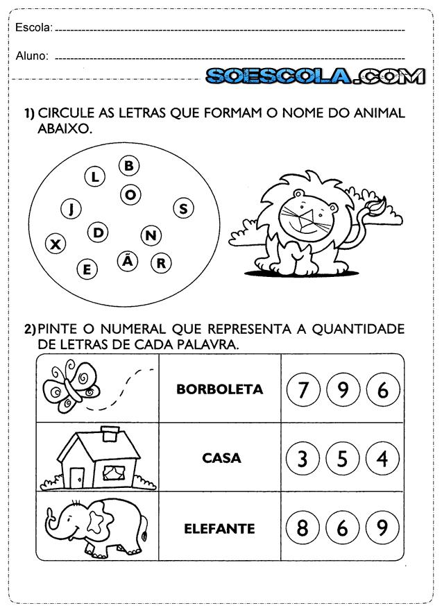 Atividades de português 1° ano alfabeto