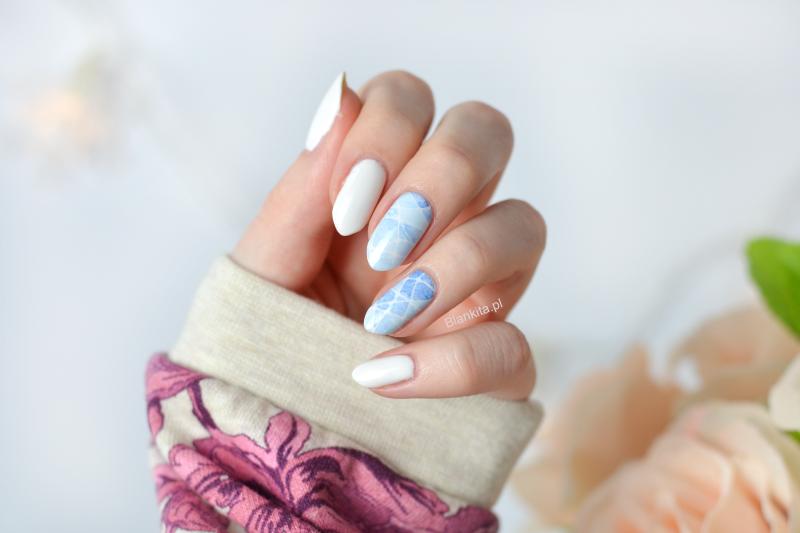 niebieskie naklejki, semilac strong white, marmurek