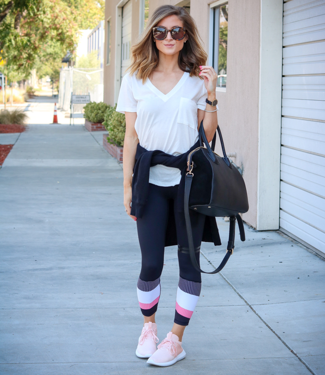 lush white tee with lilybod leggings