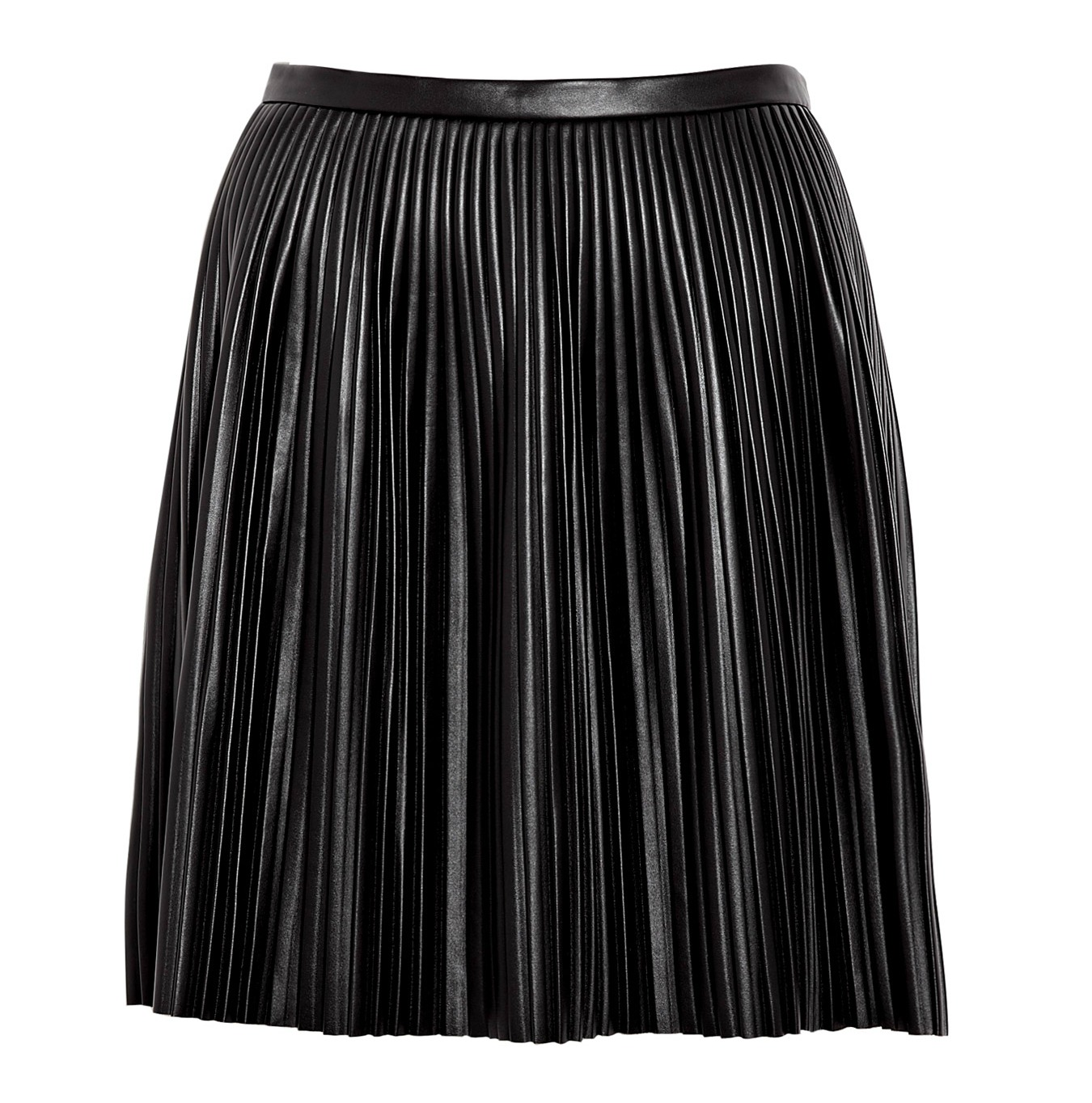 Faux-leather pleated midi skirt Item B size & fit. Sits above waist. 25 1/4