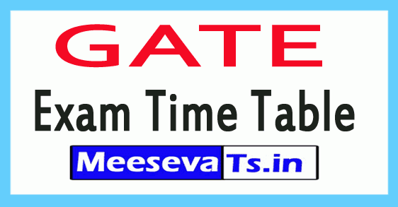 GATE Exam Time Table