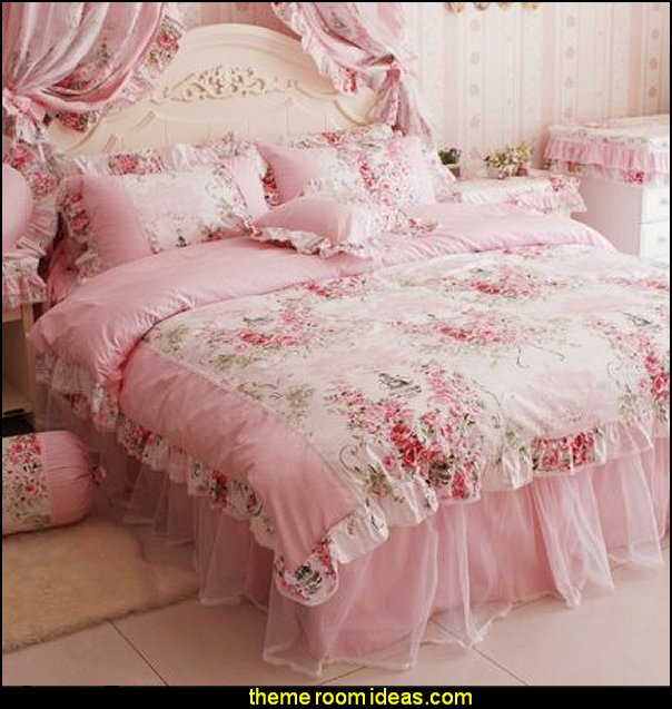 Pink Rose Floral Print Duvet Cover Bedding  floral bedding - flowers pillows - floral duvet covers - Floral Bedding Sets - flower theme bedding - Floral Print Bedding