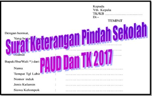 Surat Keterangan Pindah Sekolah PAUD Dan TK 2017