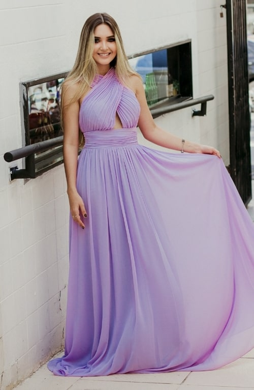 vestido de festa longo lavanda para madrinha