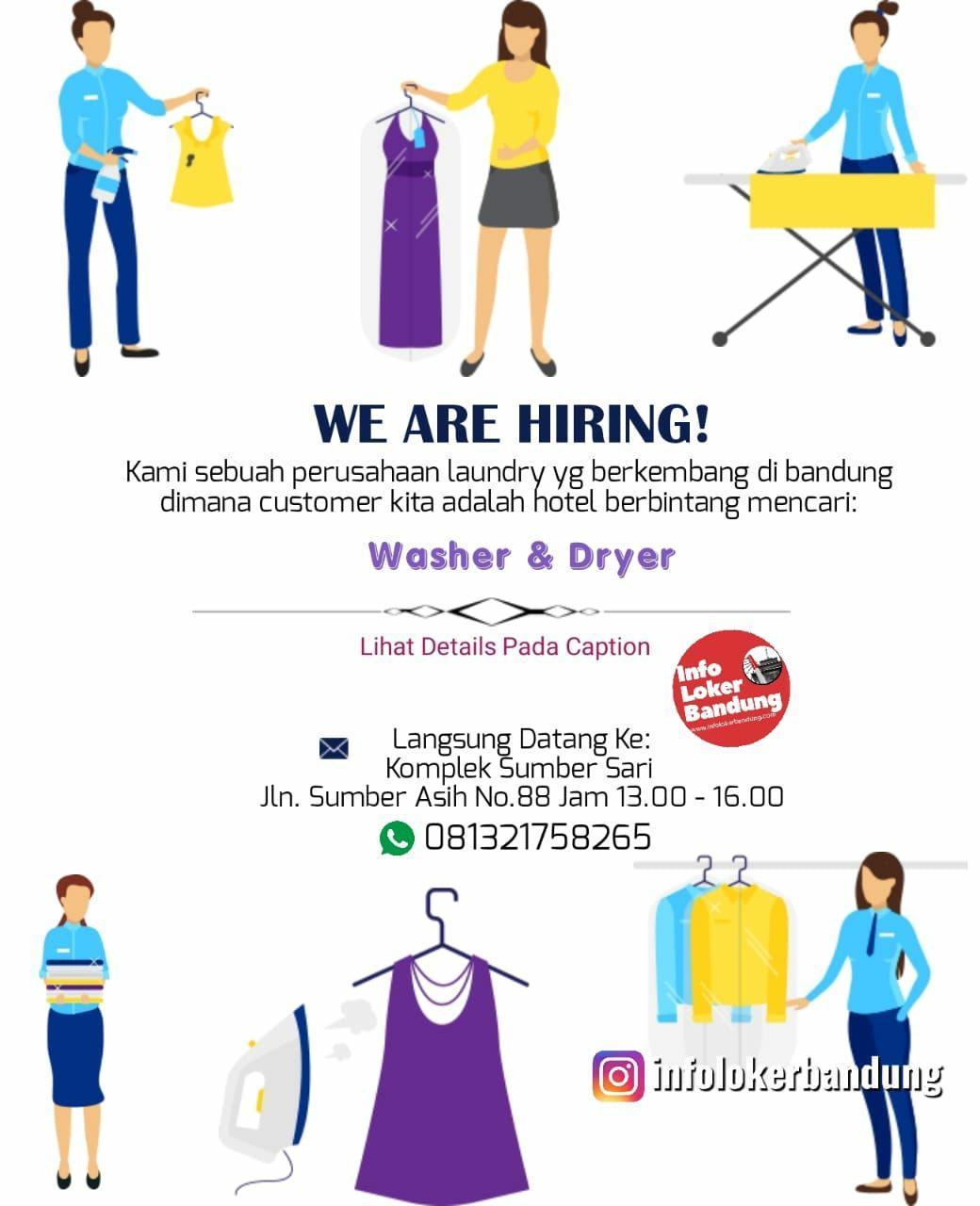 Lowongan Kerja Washer & Dryer Perushaan Laundry Bandung Maret 2019
