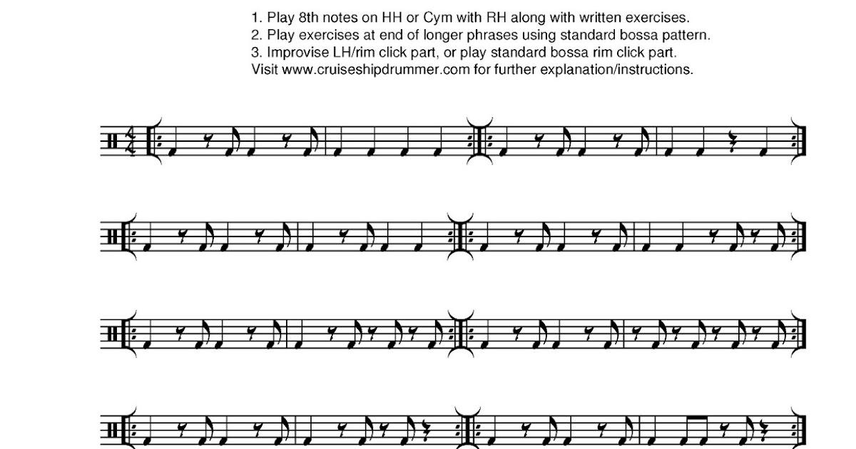 Cruise Ship Drummer Bass Drum Variations For Bossa Nova