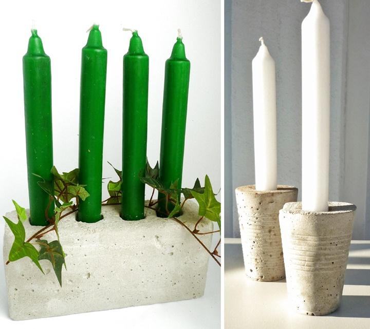 drei Kerzenhalter aus Beton selbst gegossen