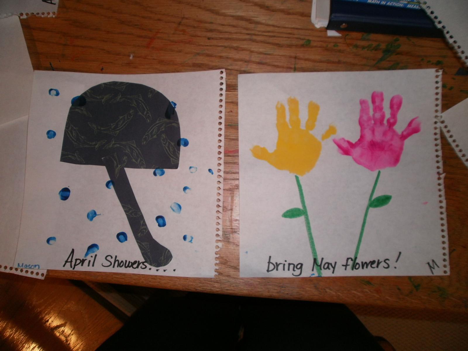 April Showers Brings May Flowers Preschool Craft