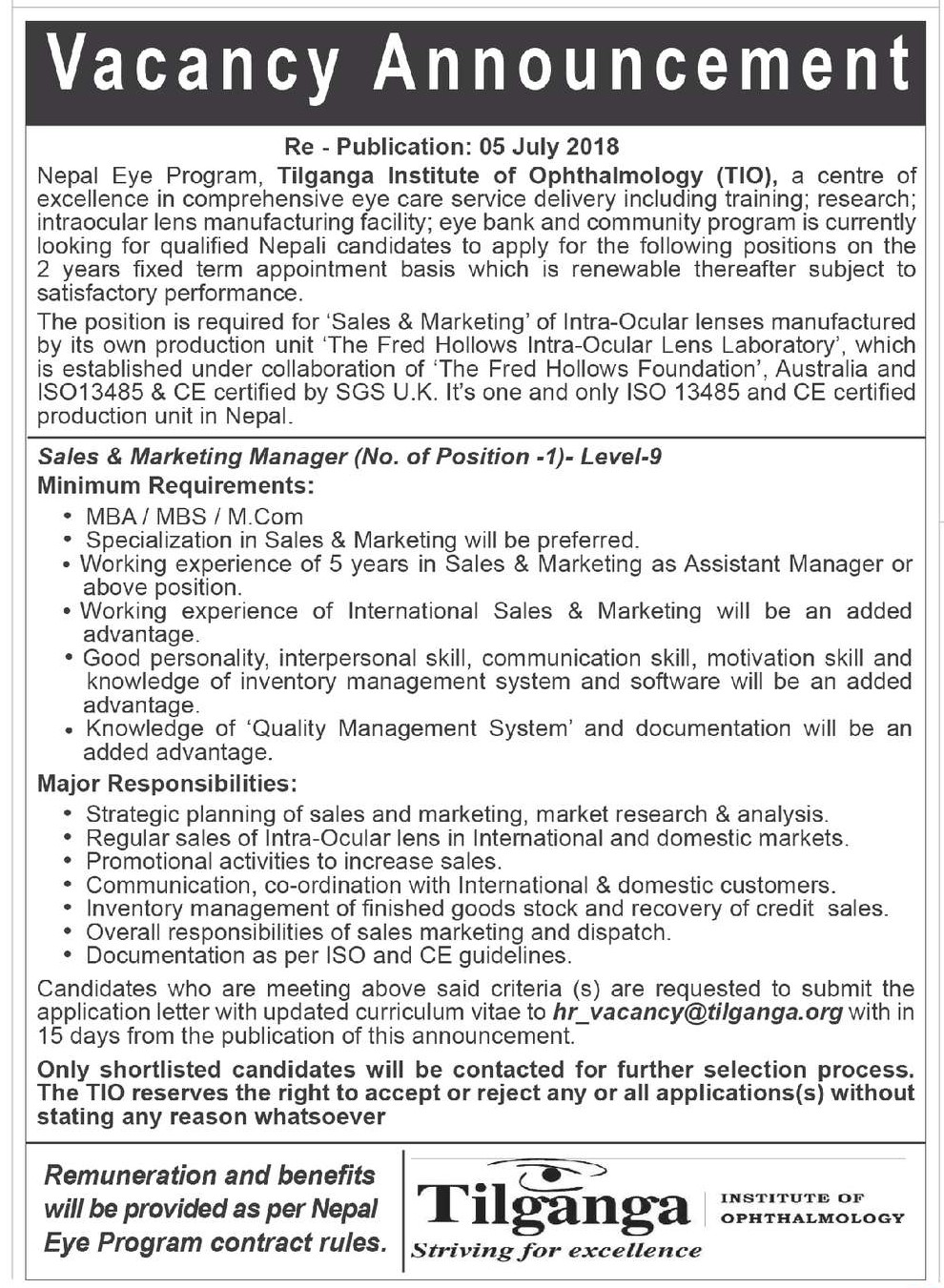 manager vacancy tilganga
