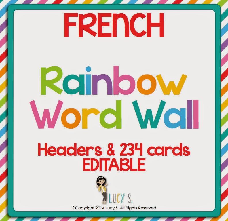 French - Rainbow Word Wall (Editable)