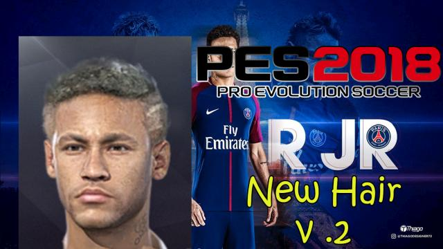 PES 2018 Neymar Jr Face and New Hair v.2 (PSG) by Nanilincol44