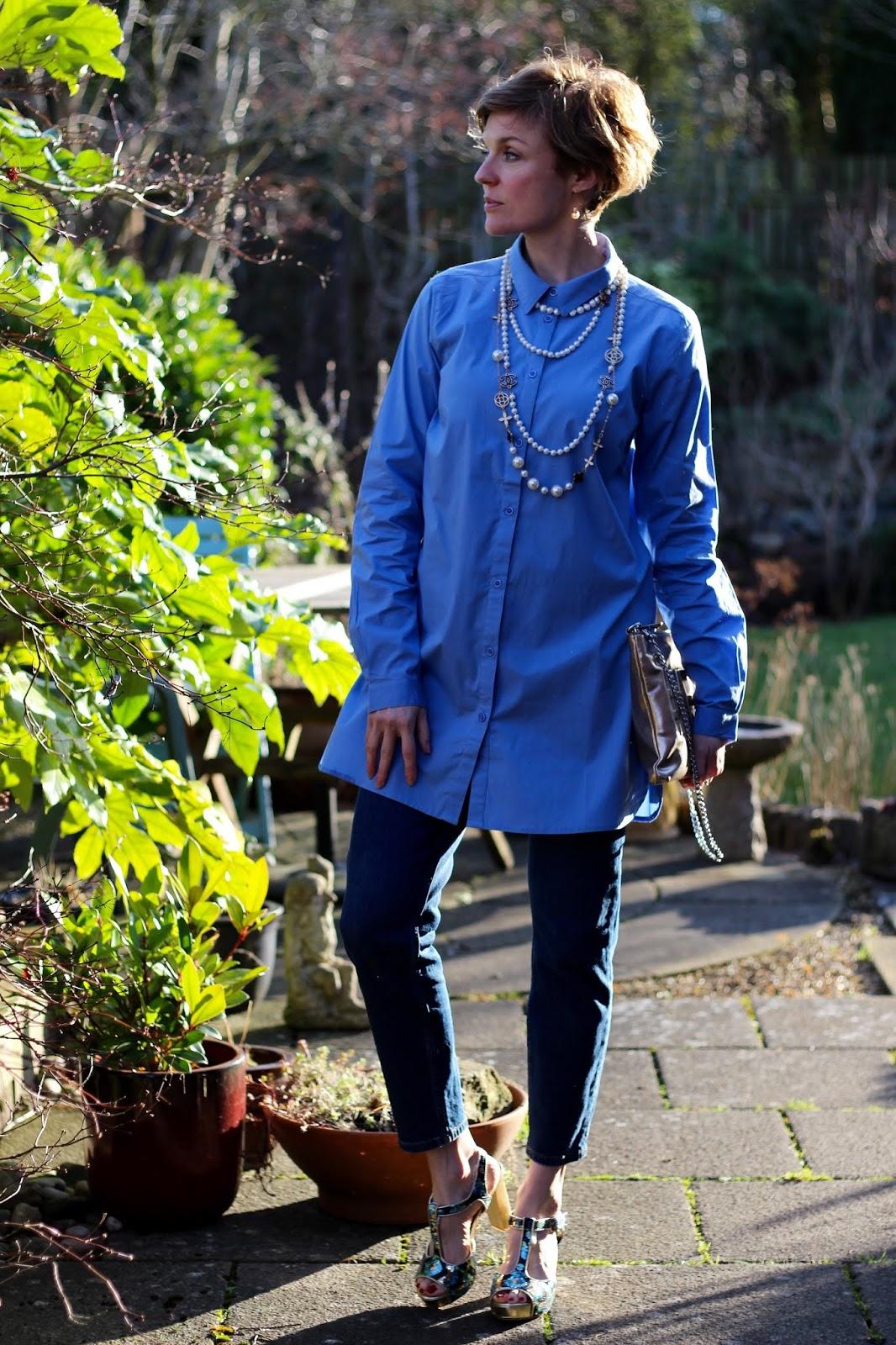 Longline shirt, Topshop Orson Jeans, Sequin Shoes | Fake Fabulous