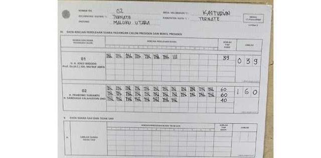 Prabowo-Sandi Unggul Di TPS 02 Kasturian Ternate