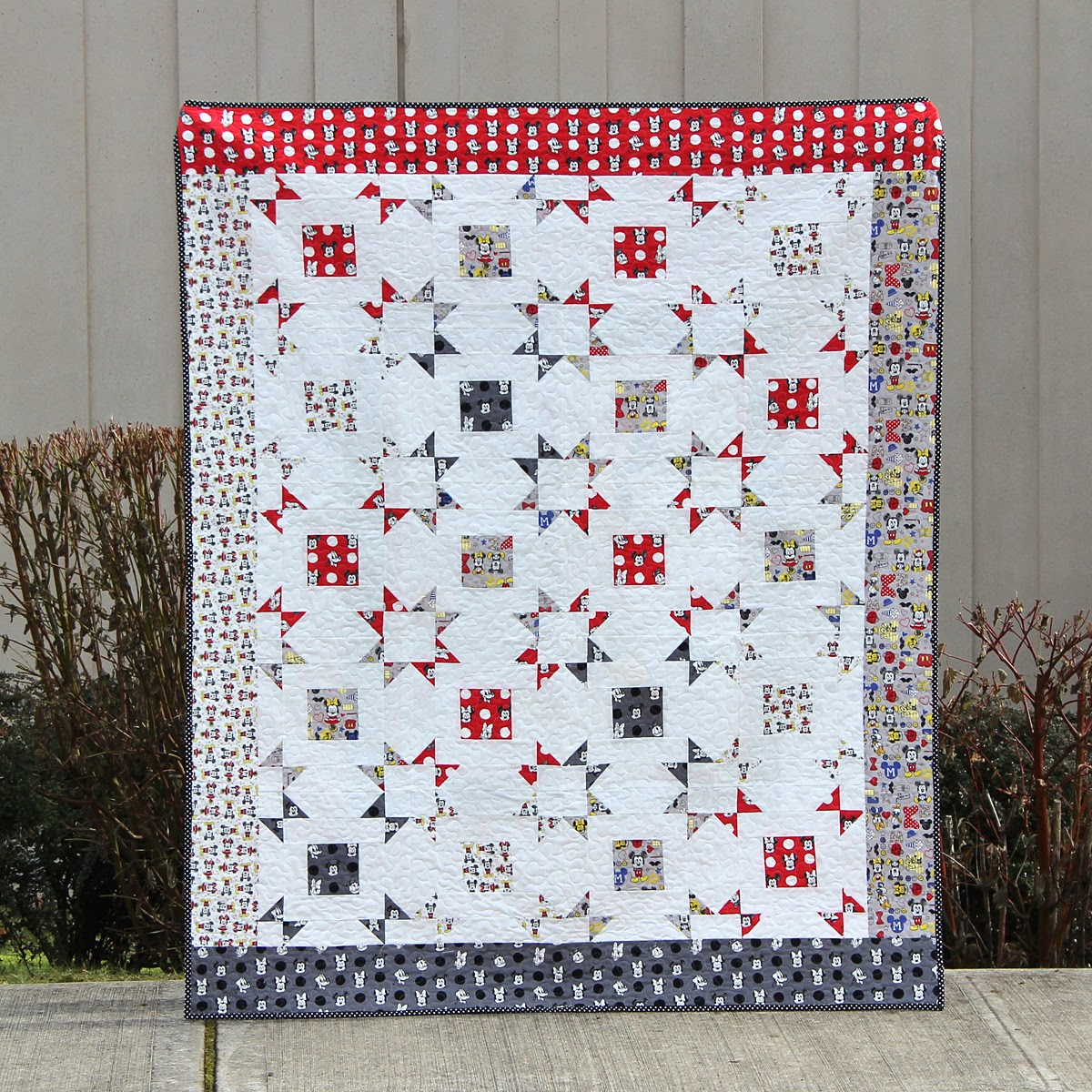 Mostly Crafty - A bit of scrap stuff: Layer Cake Pop Quilt with Fat Quarter Shop - Mickey Mouse ...