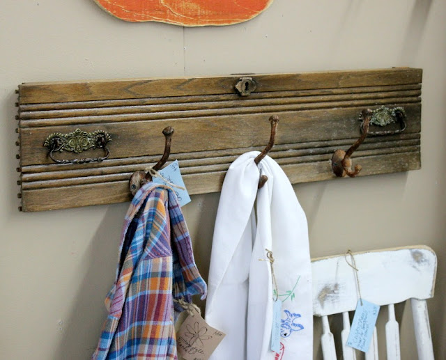 coat hook, old drawer, farmhouse, antique, rustic, http://goo.gl/CJQLRN