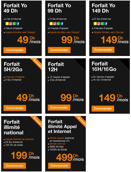 Forfaits Orange