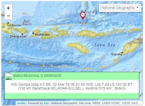 BMKG Mencatat Ada Titik Gempa 4.5 SR, Di Perairan Kep. Selayar, Sabtu Pagi
