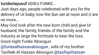 Photo of Tweet about Funke Abisogin's death