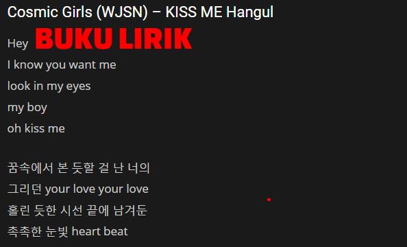 Lirik Lagu Kiss Me - Wjsn (Cosmic Girl)
