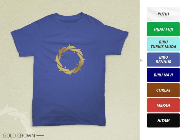Preview desain kaos rohani mahkota duri emas di warna 'biru benhur'