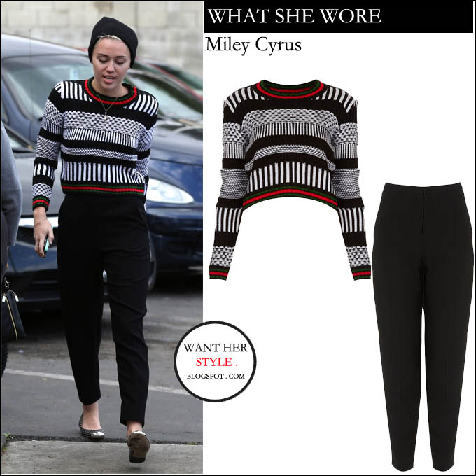 WHO  Miley Cyrus outside of Hugo s restaurant on January 27th 2013 in  Studio City WHAT SHE WORE  knitted crop black and white jumper with  contrast red and ... 82ef6d522