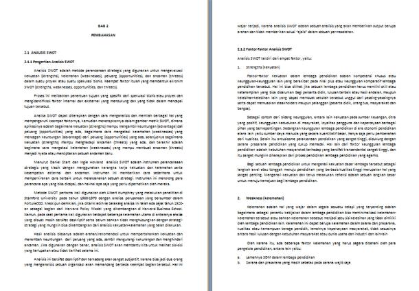 Contoh Makalah Analisis SWOT Lengkap Format .docx Microsoft Word