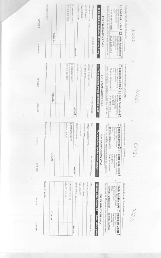 Admission Form for BA/Bsc Regular Private and Compartment
