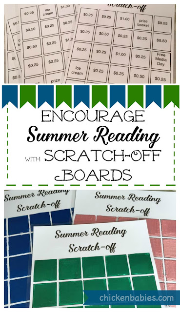 Great idea! Scratch off boards as a summer reading incentive. The kids scratch off a square to reveal a prize after they have read a book! So fun!