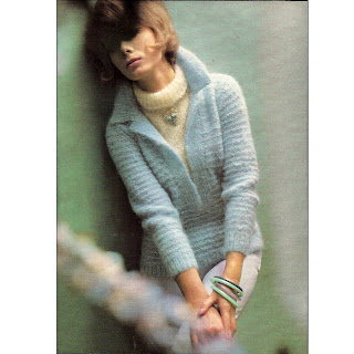 Low V-Neck Knitted Mohair Sweater Pattern