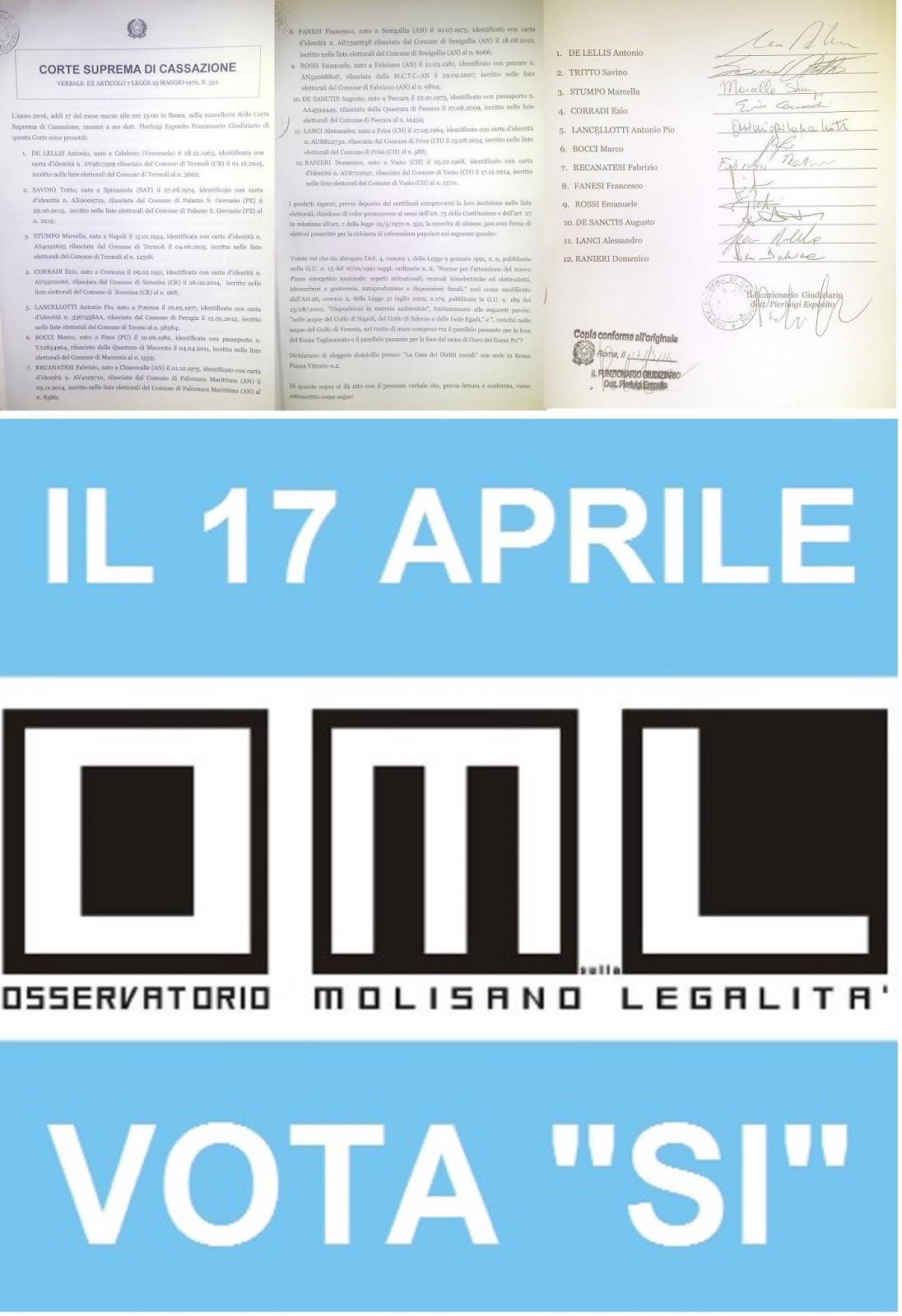 Osservatorio molisano sulla legalit referendum abrogativo 17 marzo ecco il testo depositato - Testo i giardini di marzo ...