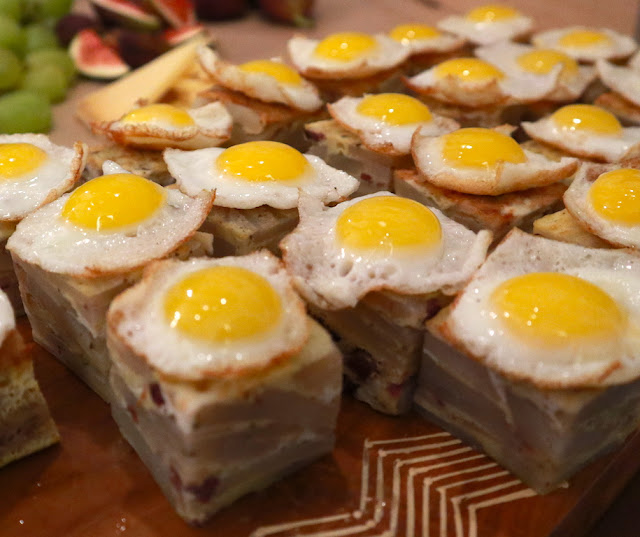 Potato + Morcela Sausage topped with a slightly runny Quail Egg