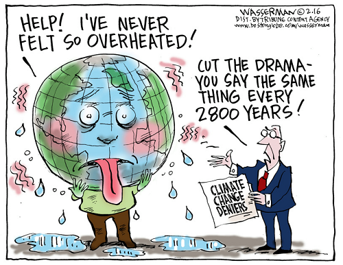 Toon of the Week - Help!  I've never felt so overheated! / Cut the drama - You say the same thing every 2800 years!