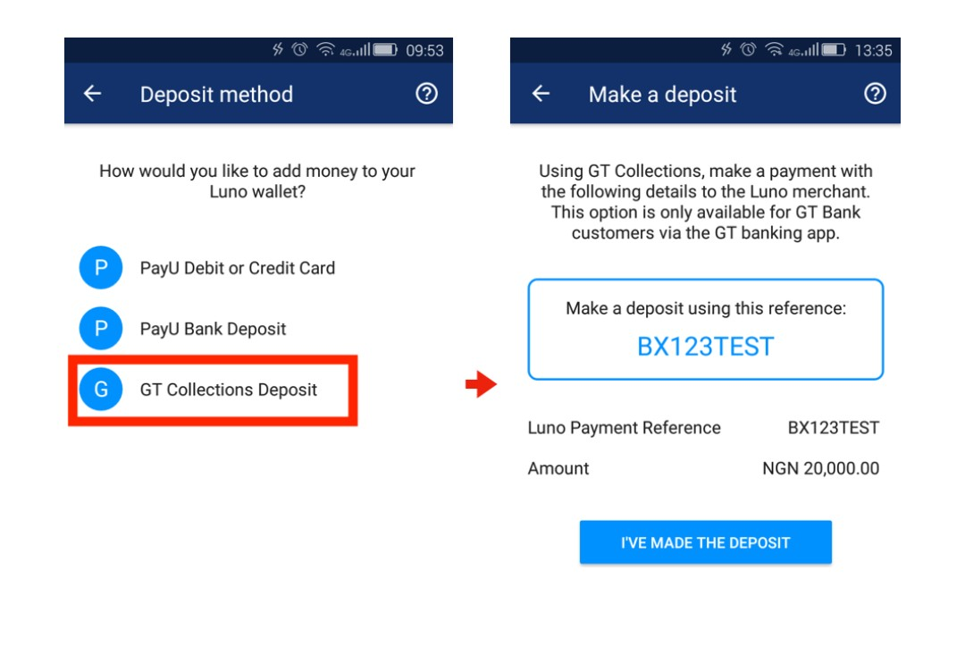 How to buy bitcoin and etherum using gtbank collection via luno heres how to make your deposit with gt collections ccuart Image collections
