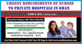 URGENT REQUIREMENTS OF NURSES TO PRIVATE HOSPITALS IN OMAN