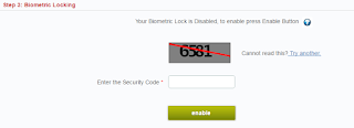 Enable Lock in Online for lock your aadhaar card biometric