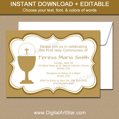 elegant gold First Communion invitation template
