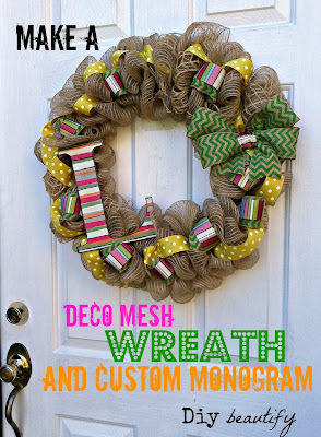 Deco Mesh Wreath with Custom Monogram www.diybeautify.com