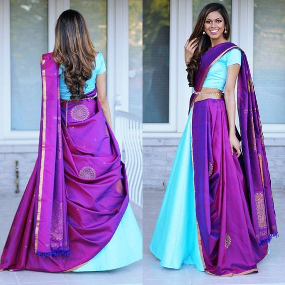 1c787488d1d6 Adding a floor length jacket also is an interesting idea especially if you  are having a winter wedding. for more modern saree drape ideas visit here
