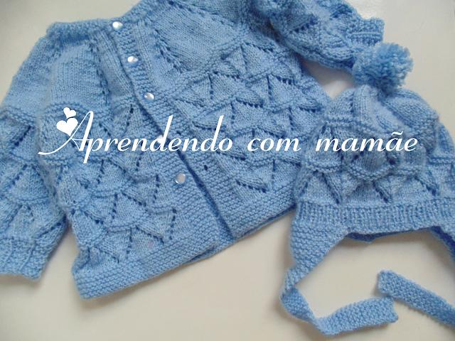 tricô, enxoval de bebê, pingouin, casaquinho de bebê, lã Mais Bebê da Círculo, touca com orelhinha, roupa de bebê
