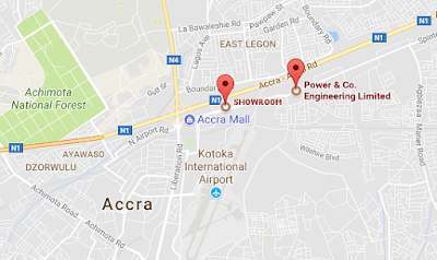 What is the  Distance from Accra to Spintex ghana