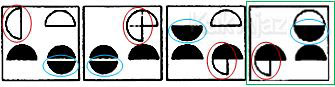 Pembahasan Soal Figural No. 43 TKPA SBMPTN 2016 Kode Naskah 602, pola gambar: objek berpindah dari kiri atas, kanan atas, kanan bawah, dan kiri bawah