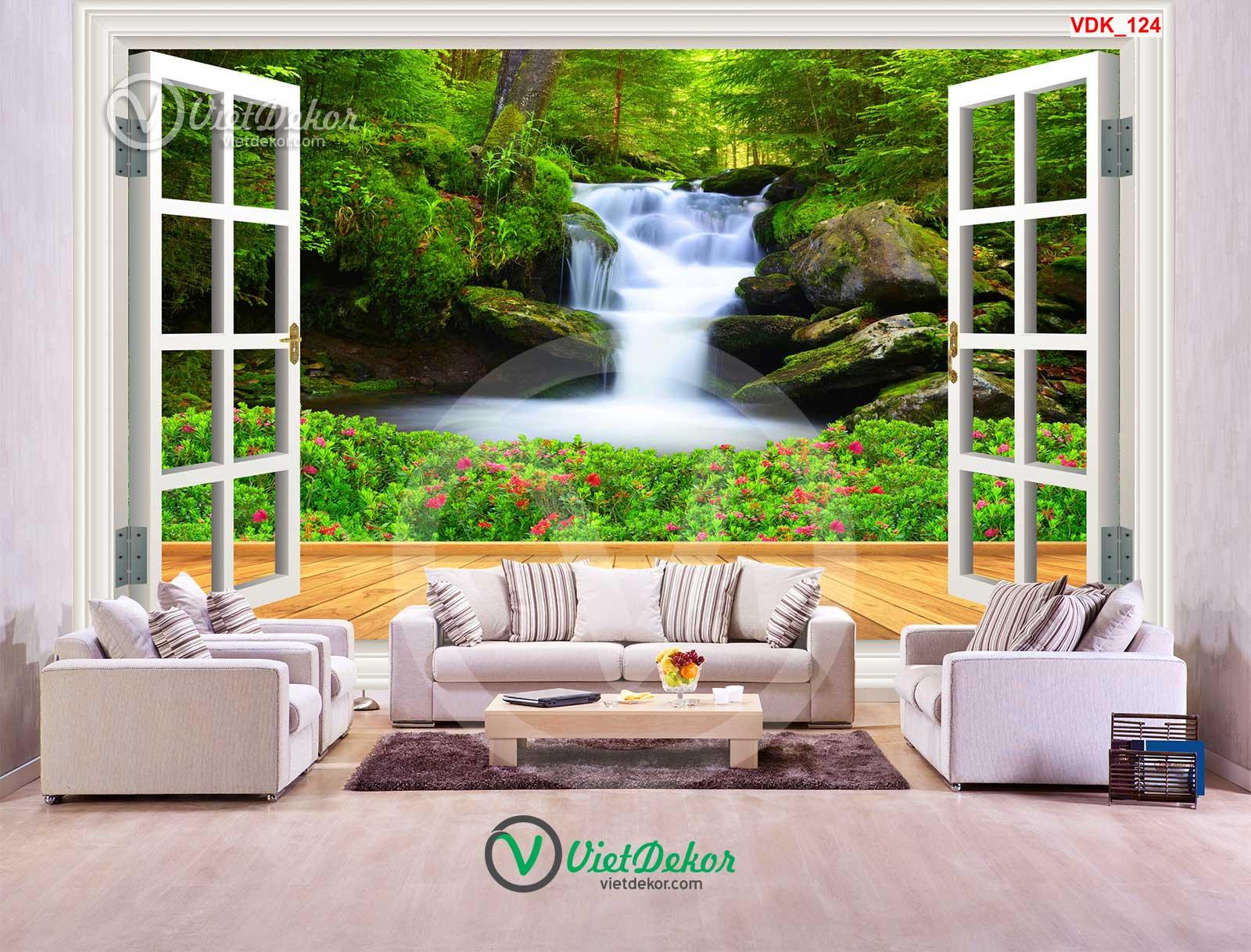 Tranh 3d cửa sổ thác nước và hoa
