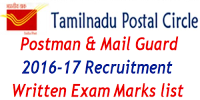 Tamil Nadu Postal Circle Written Exam Mark list 2017
