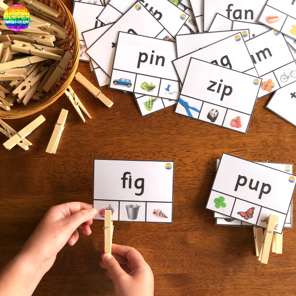 CVC Word Clip It Cards | you clever monkey