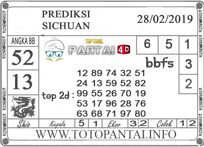 """Prediksi Togel """"SICHUAN"""" PANTAI4D 28 FEBRUARI 2019"""