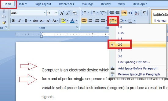 Changing Line spacing and set line spacing option to 2