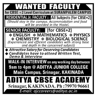 Aditya CBSE Academy Faculty Walk In Intereview