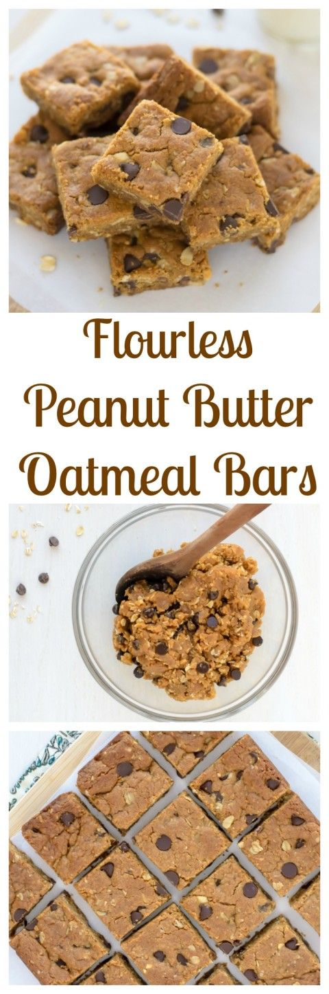 Flourless Peanut Butter Oatmeal Bars with Chocolate Chips