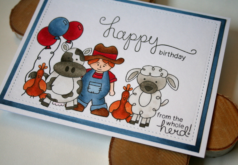 Whole Herd Birthday Card by Jess Moyer featuring Newton's Nook Farmyard Friends